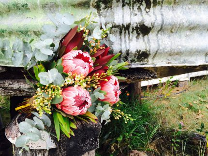 Native Bridal Bouquet and old tank